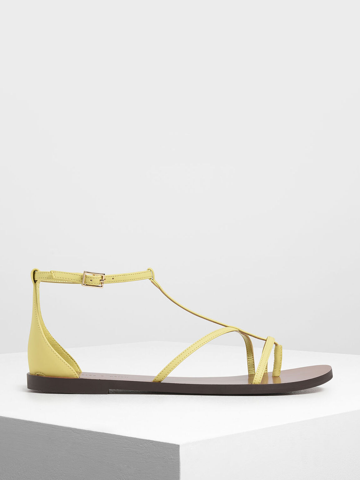 Asymmetrical Strappy Flats, Yellow, hi-res