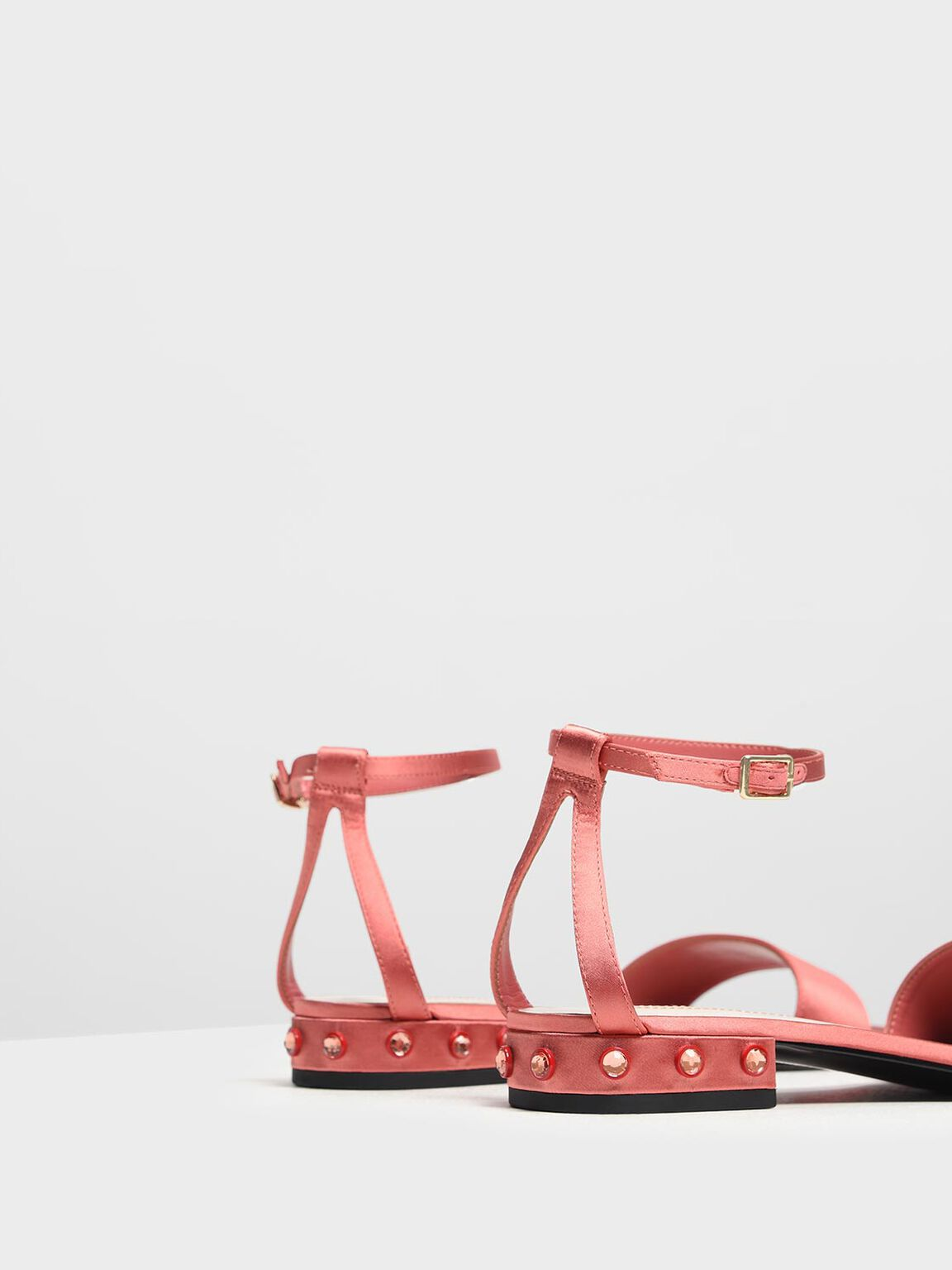 Bejeweled Heel Sandals, Coral Pink, hi-res