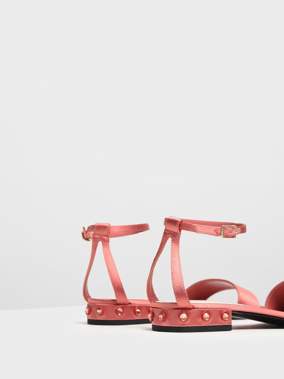 Bejeweled Heel Sandals, Coral Pink, hi-res