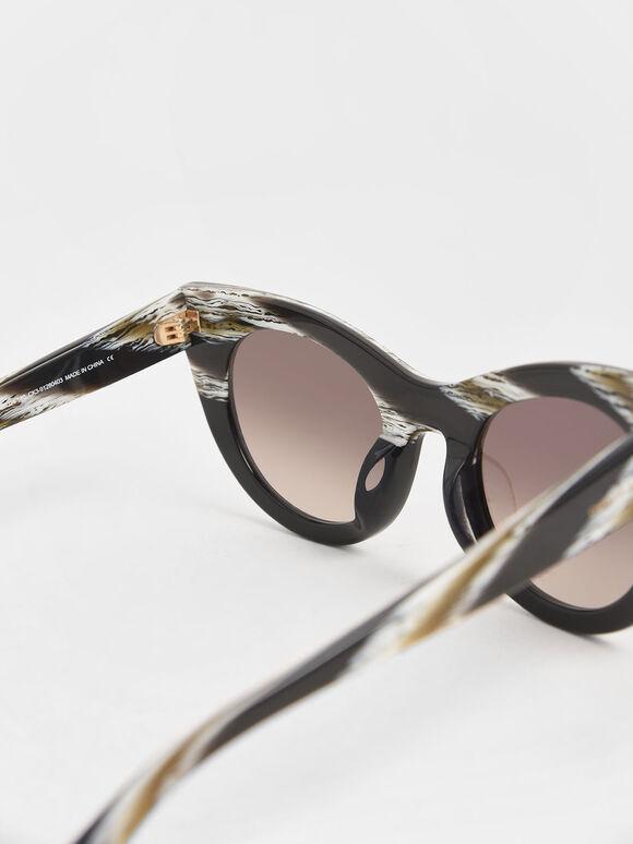 Striped Thick Frame Cat-Eye Sunglasses, Multi, hi-res