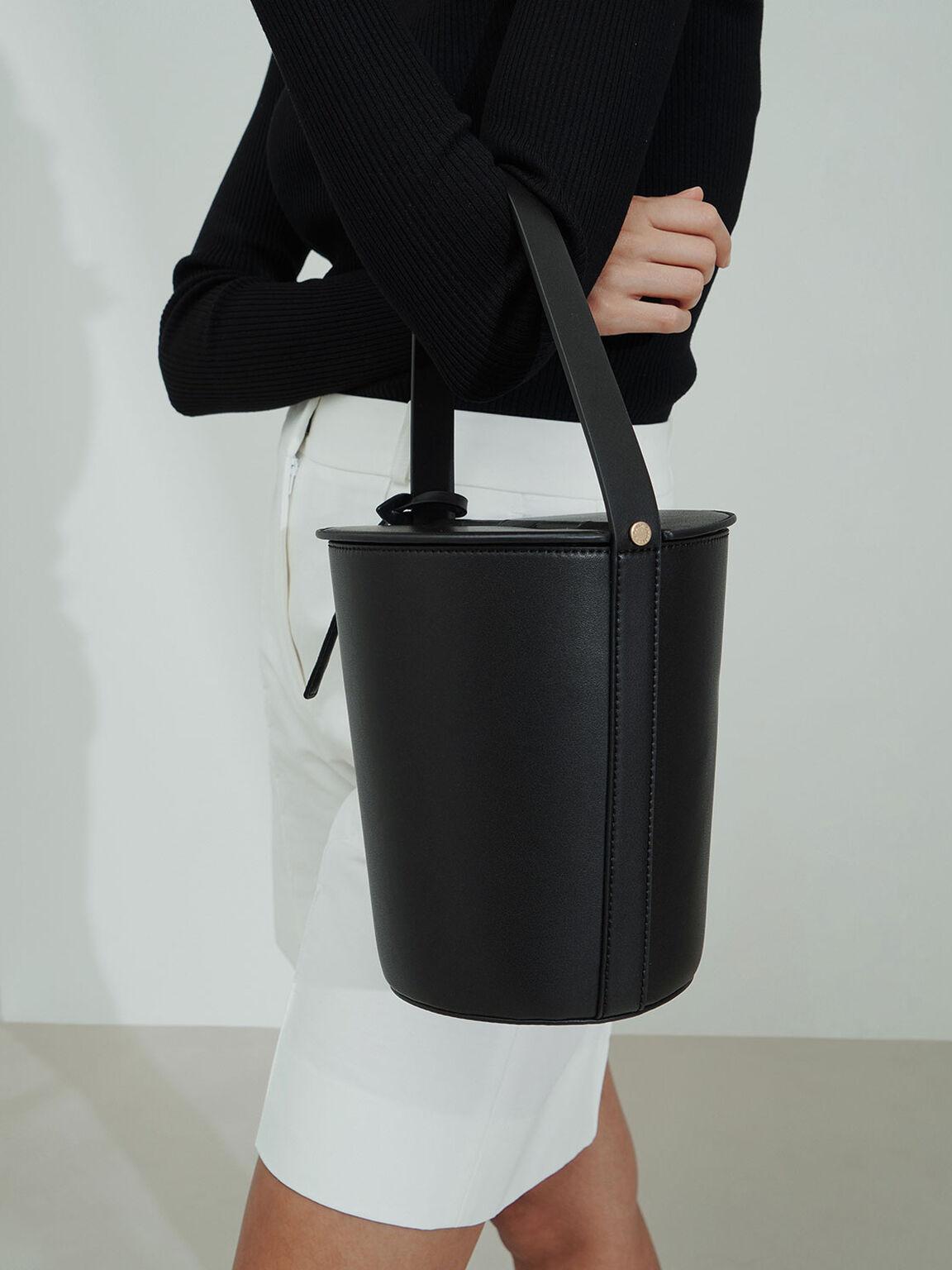 Cylindrical Top Handle Bag, Black, hi-res