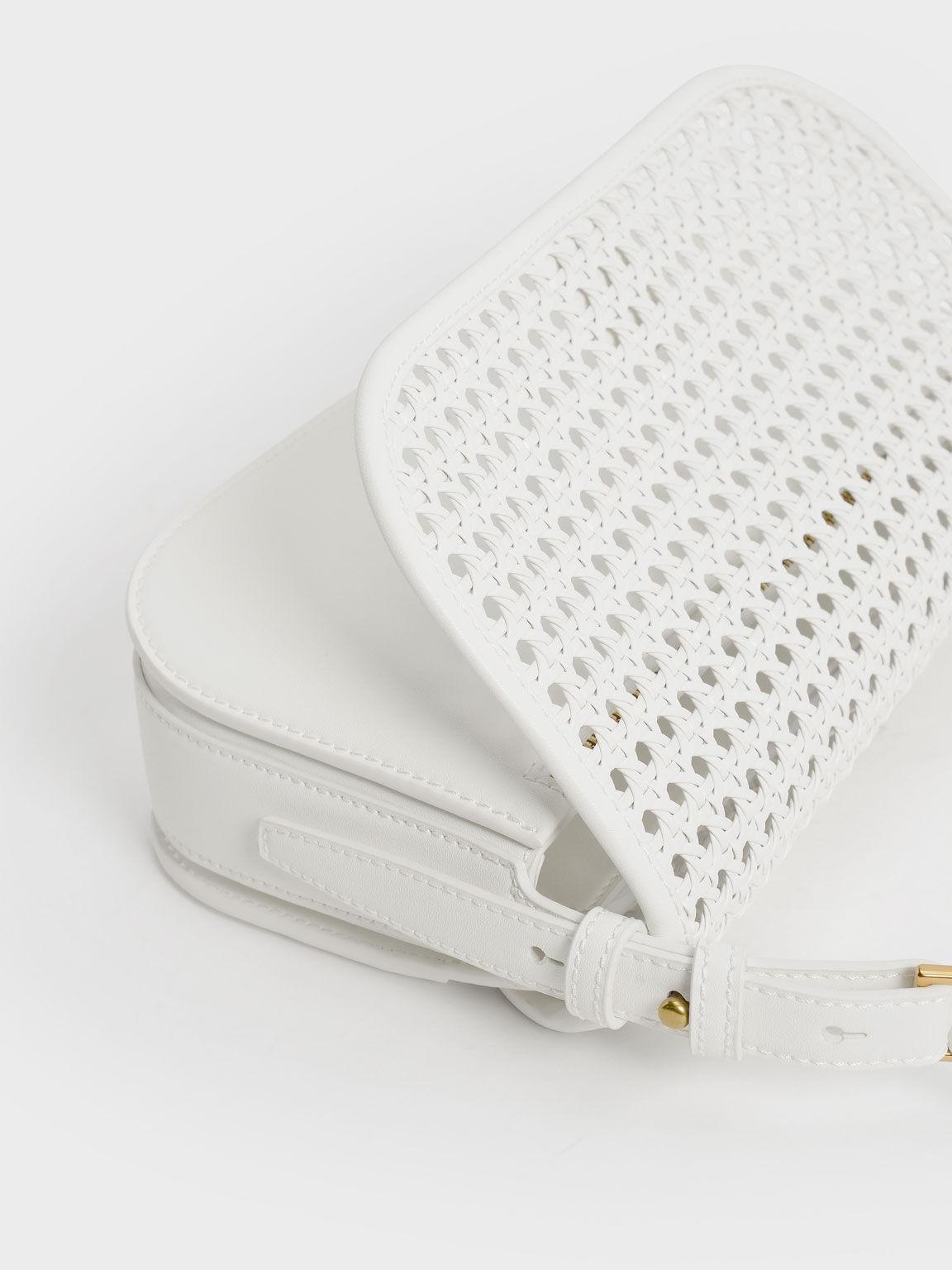 編織肩背包, 白色, hi-res