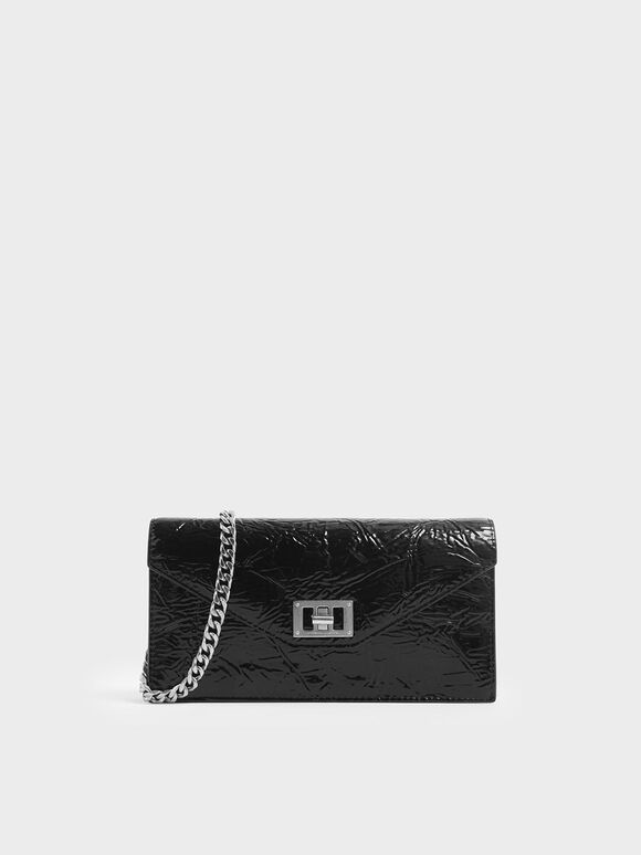 Wrinkled Patent Long Envelope Wallet, Black, hi-res