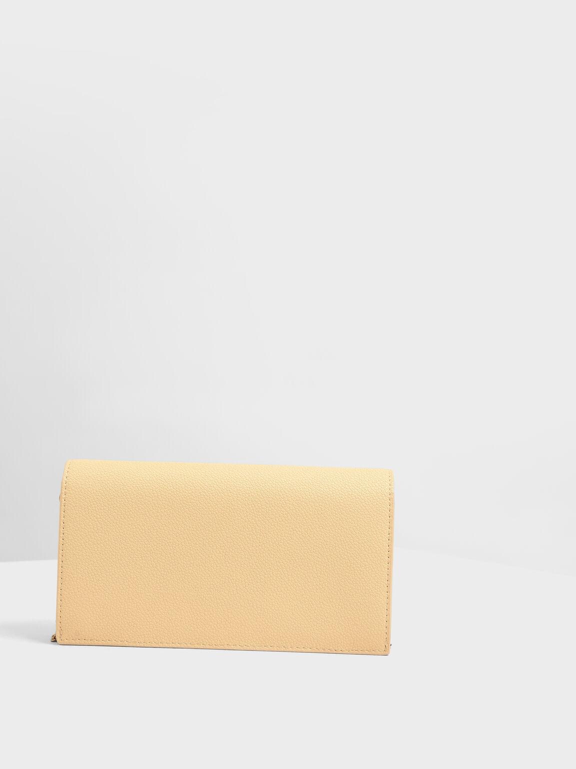 Metal Push Lock Long Wallet, Yellow, hi-res