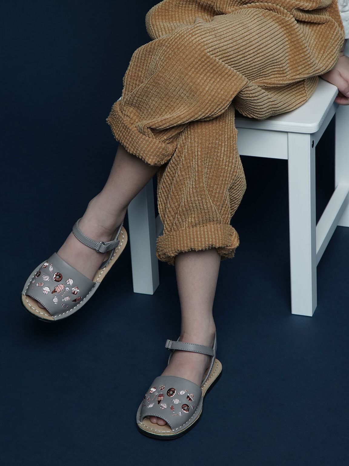 Girls' Embroidered Sandals, Light Blue, hi-res