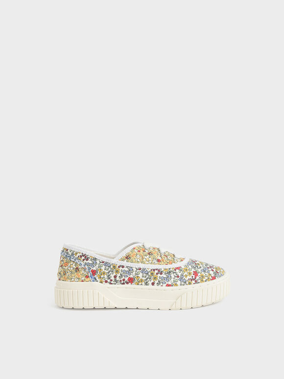 Girls' Printed Cotton Sneakers, Multi, hi-res