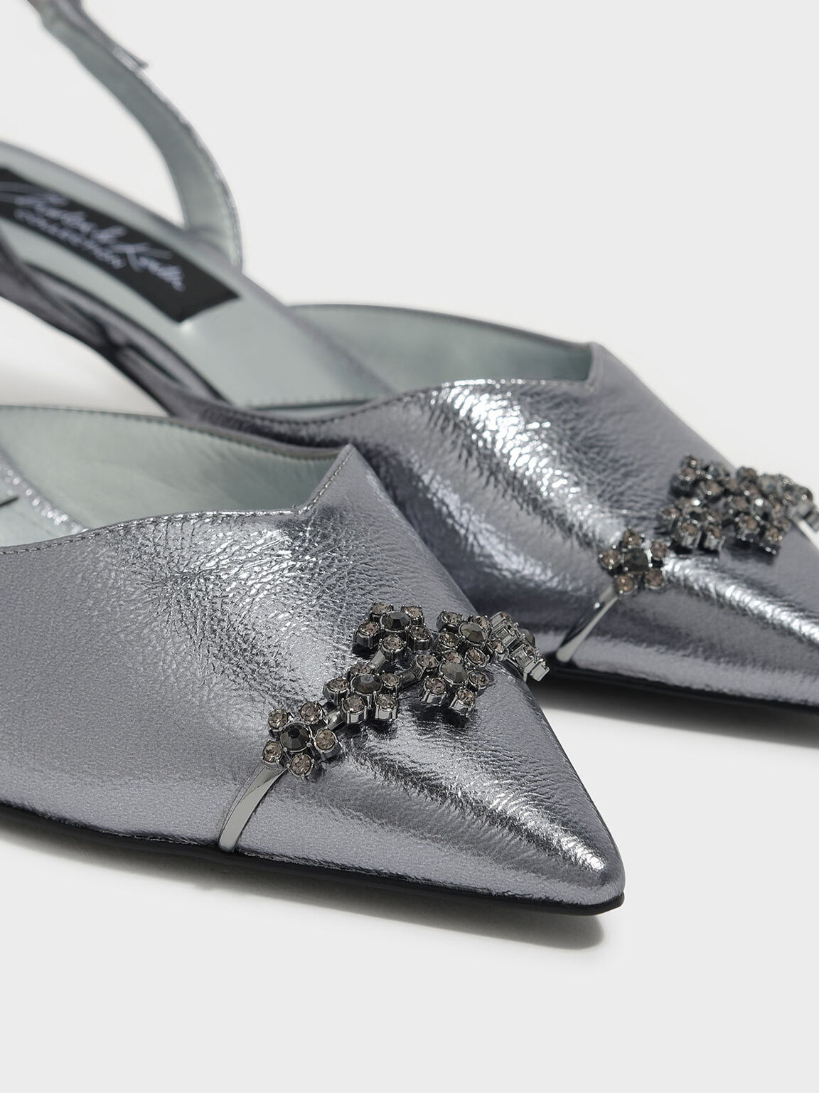 Embellished Leather Slingbacks, Pewter, hi-res