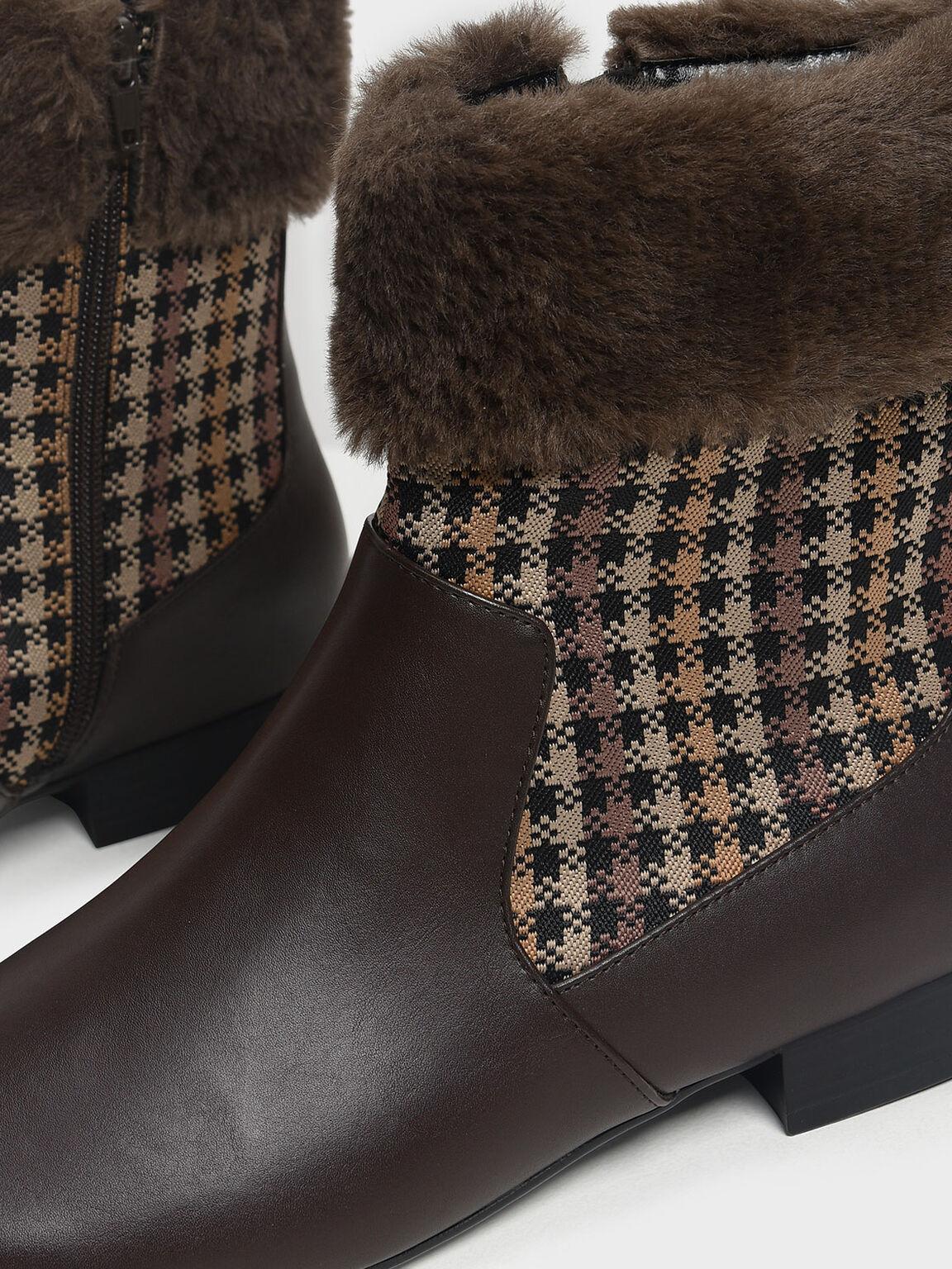 Furry Cuff Printed Boots, Dark Brown, hi-res