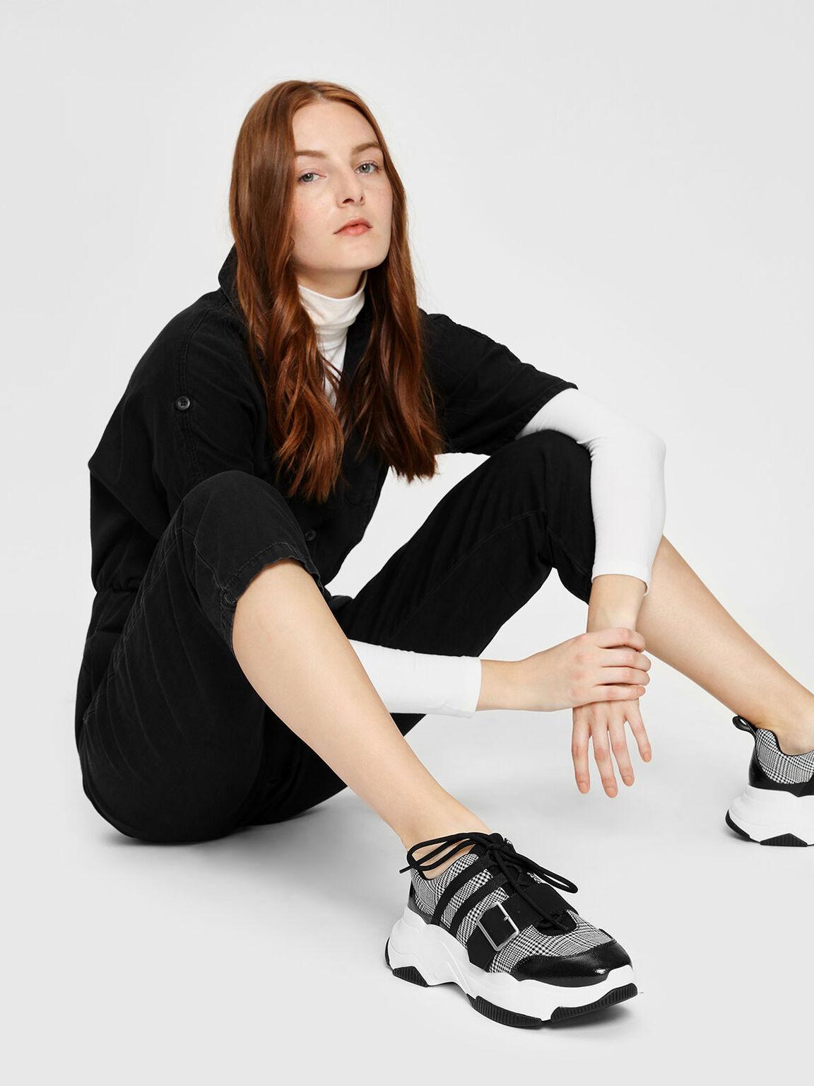 Buckle Detail Sneakers, Black, hi-res