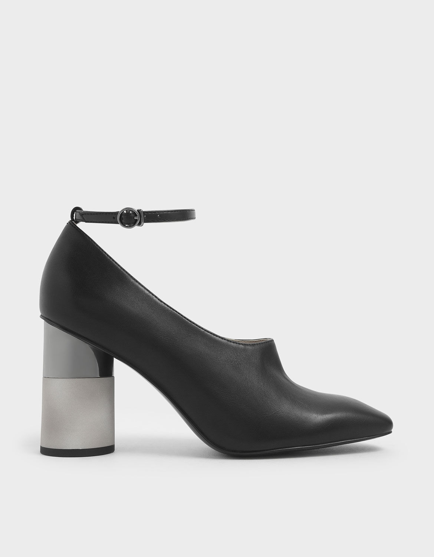 Black Ankle Strap Concrete Heel Pump