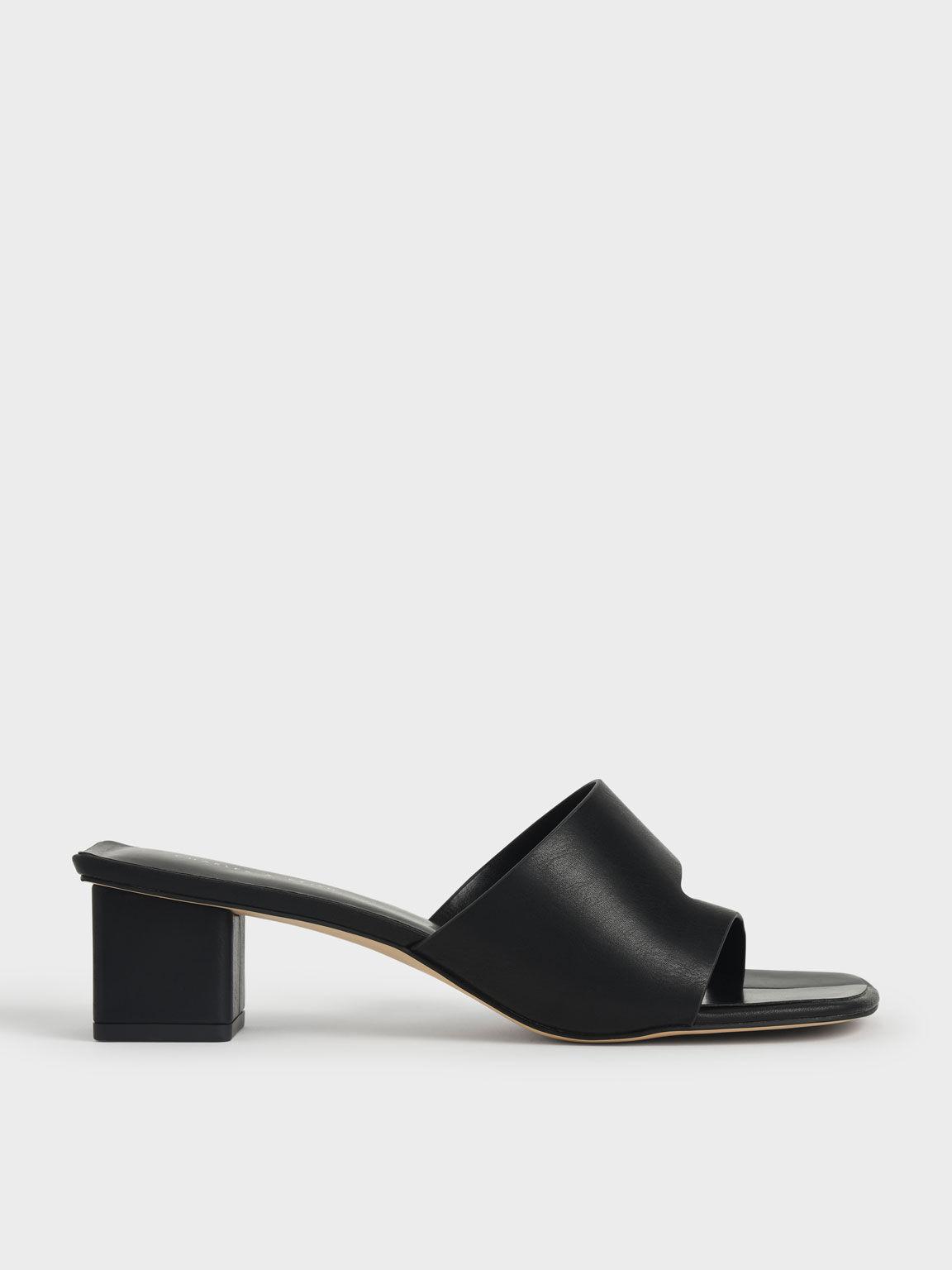 Cut-Out Thong Sandals, Black, hi-res