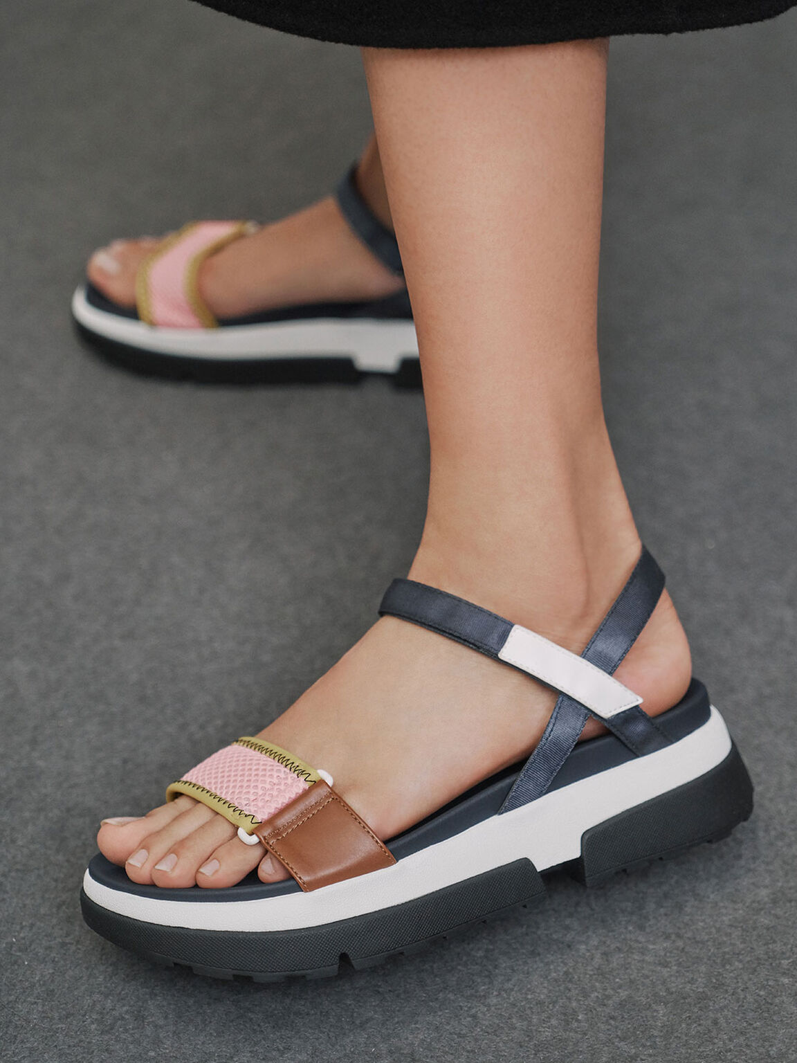 Mesh & Grosgrain Flatform Sandals, Blue, hi-res