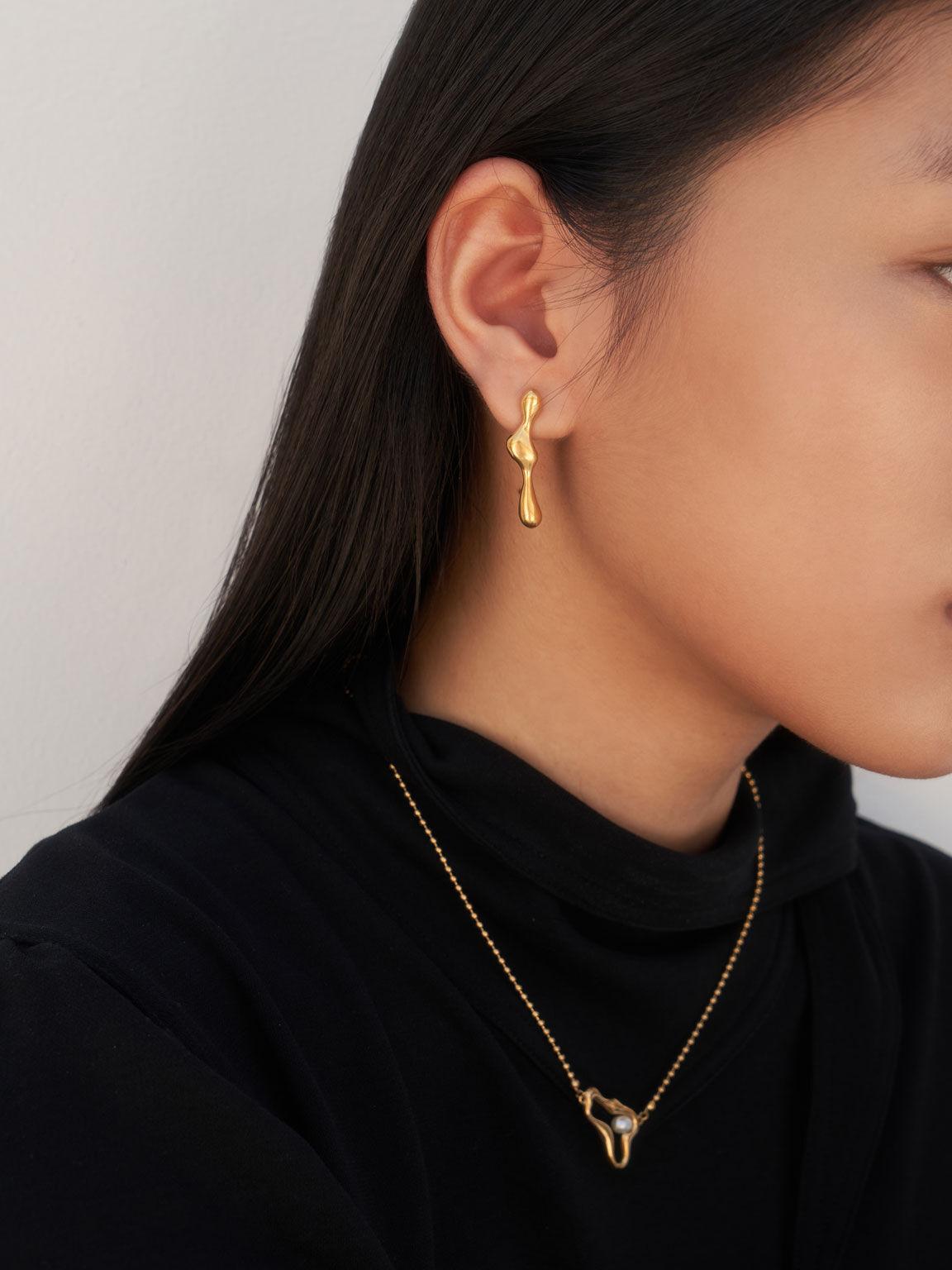 Sculpted Mismatch Earrings, Brush Gold, hi-res
