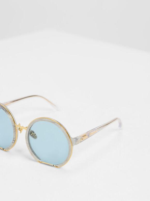Cut Off Frame Round Sunglasses, White, hi-res