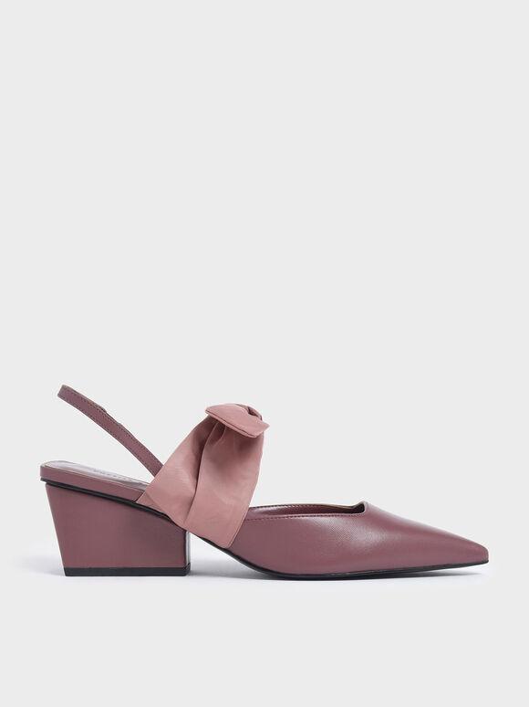 Grosgrain Bow Chunky Heel Slingback Pumps, Pink, hi-res