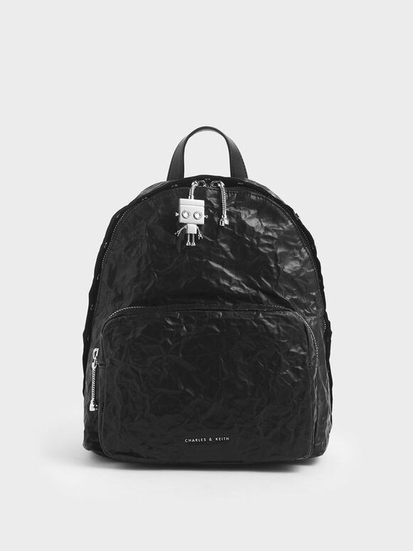 Robot Charm Wrinkled Effect Backpack, Black, hi-res