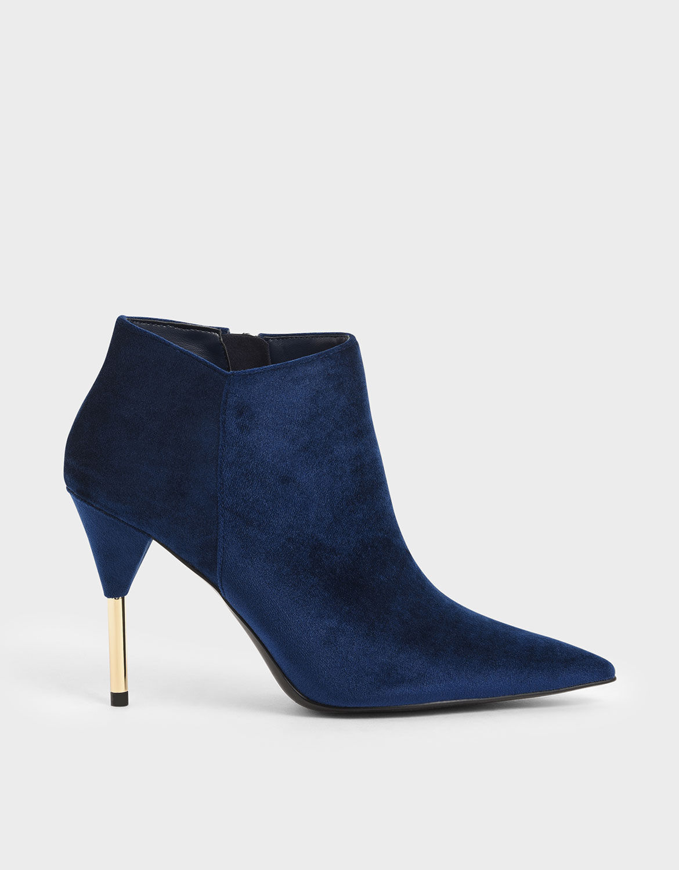 Dark Blue Velvet Metallic Stiletto Heel
