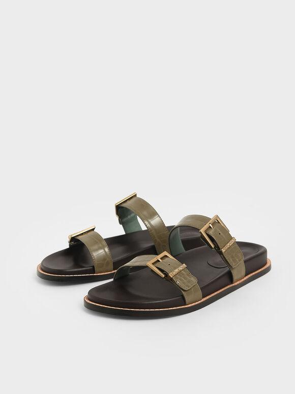 鱷魚紋雙扣環拖鞋, 綠色動物紋, hi-res