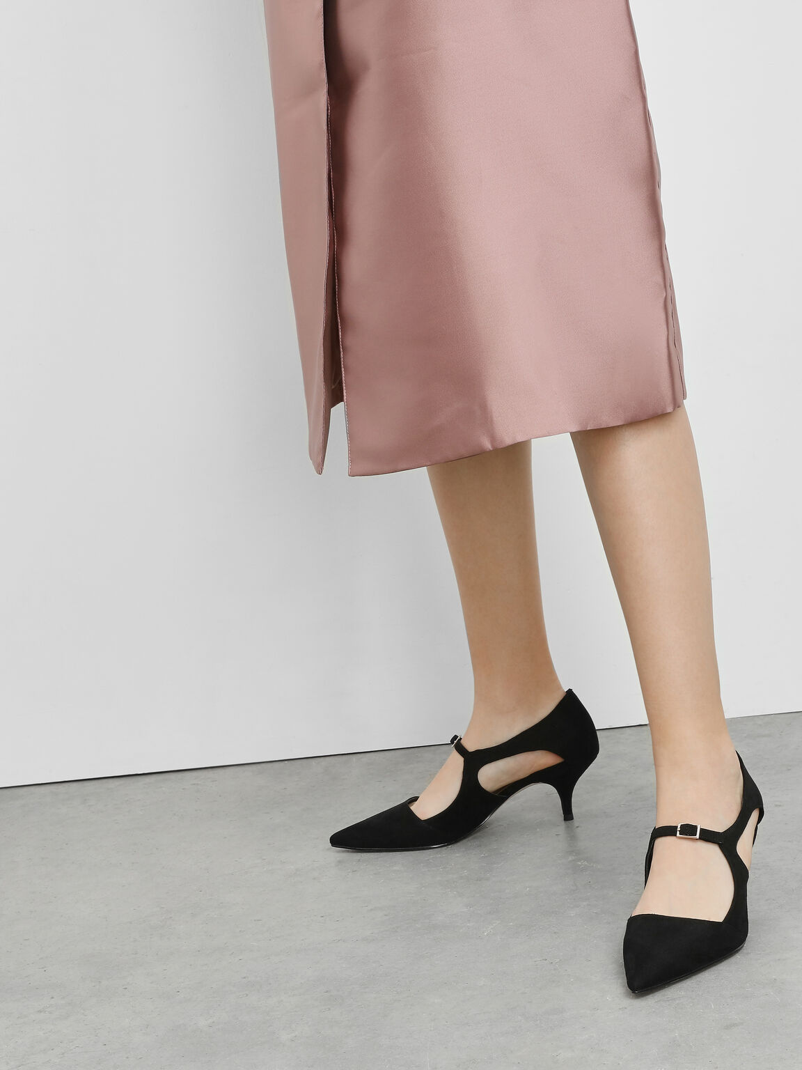 Front Buckle D'Orsay Heels, Black, hi-res