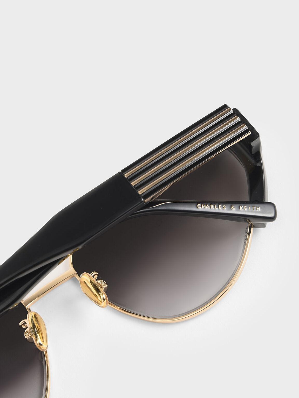 Acetate Striped Cat-Eye Sunglasses, Black, hi-res
