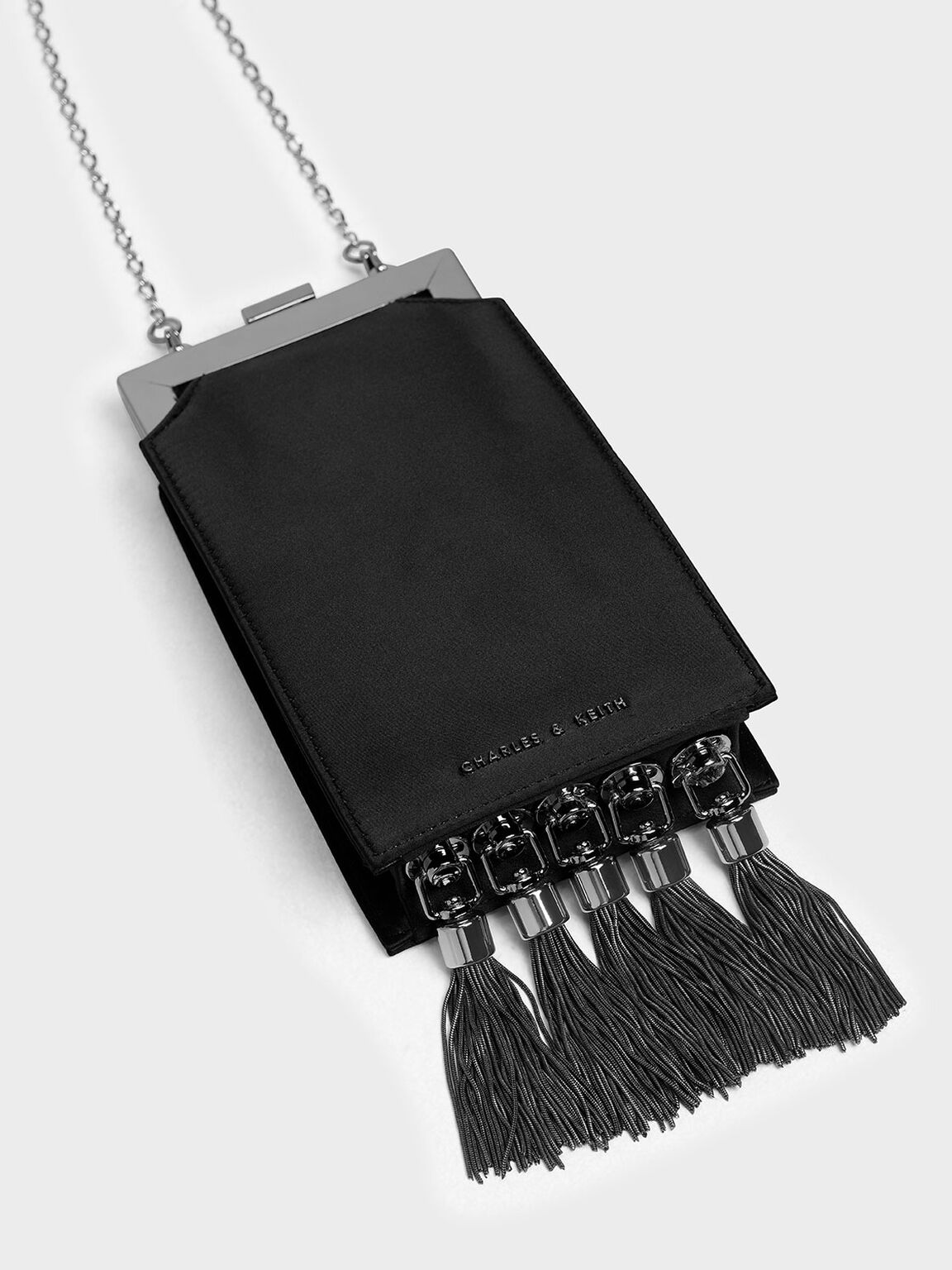 Satin Tassel Clutch, Black, hi-res