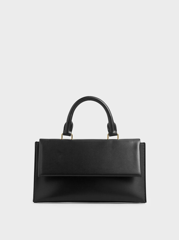 Rectangular Top Handle Bag, Black, hi-res