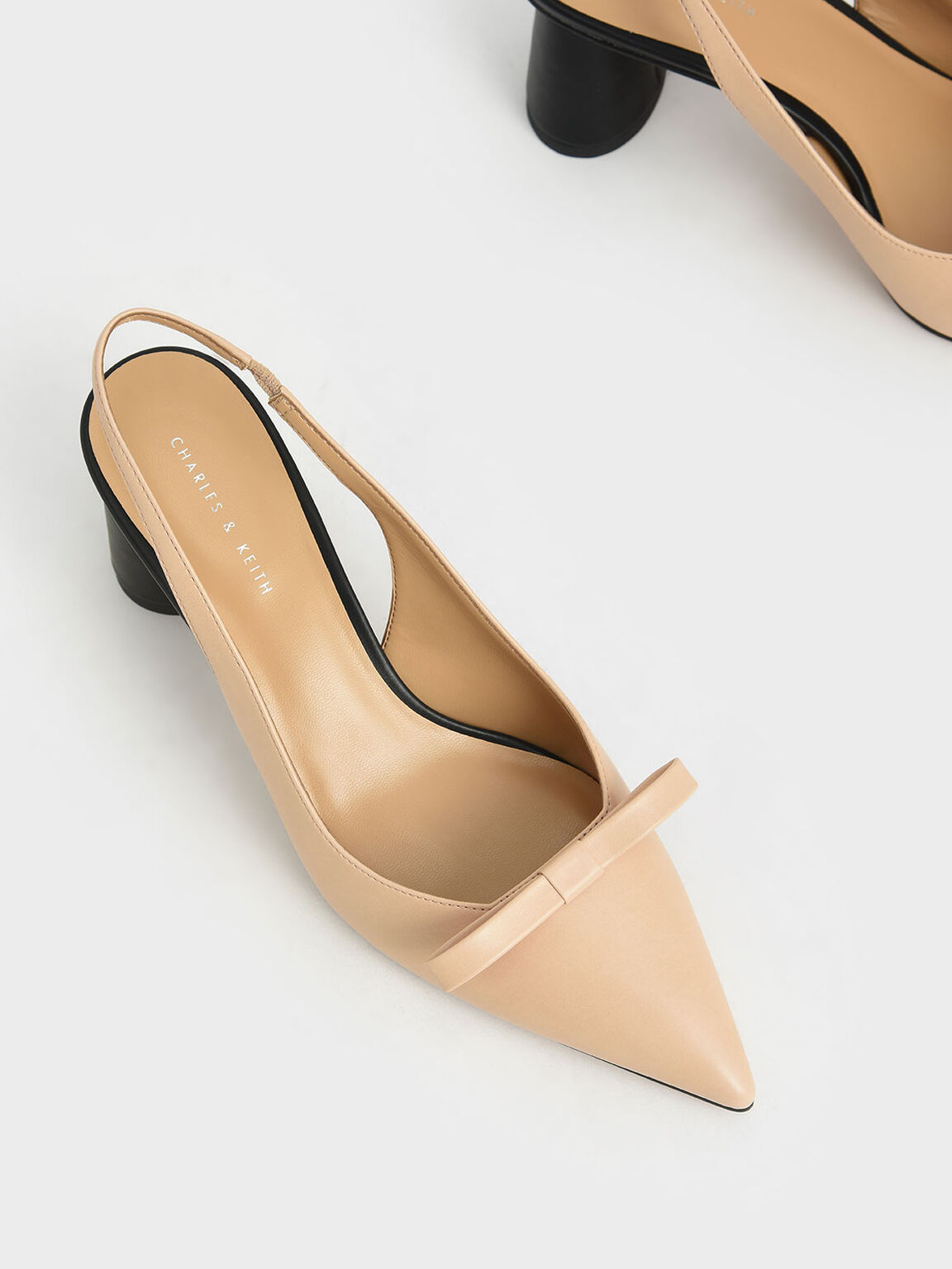 Bow Slingback Court Shoes, Nude, hi-res