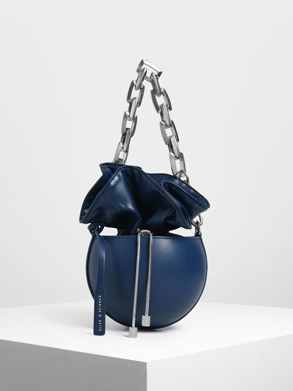 Chunky Chain Strap Spherical Bucket Bag, Dark Blue, hi-res