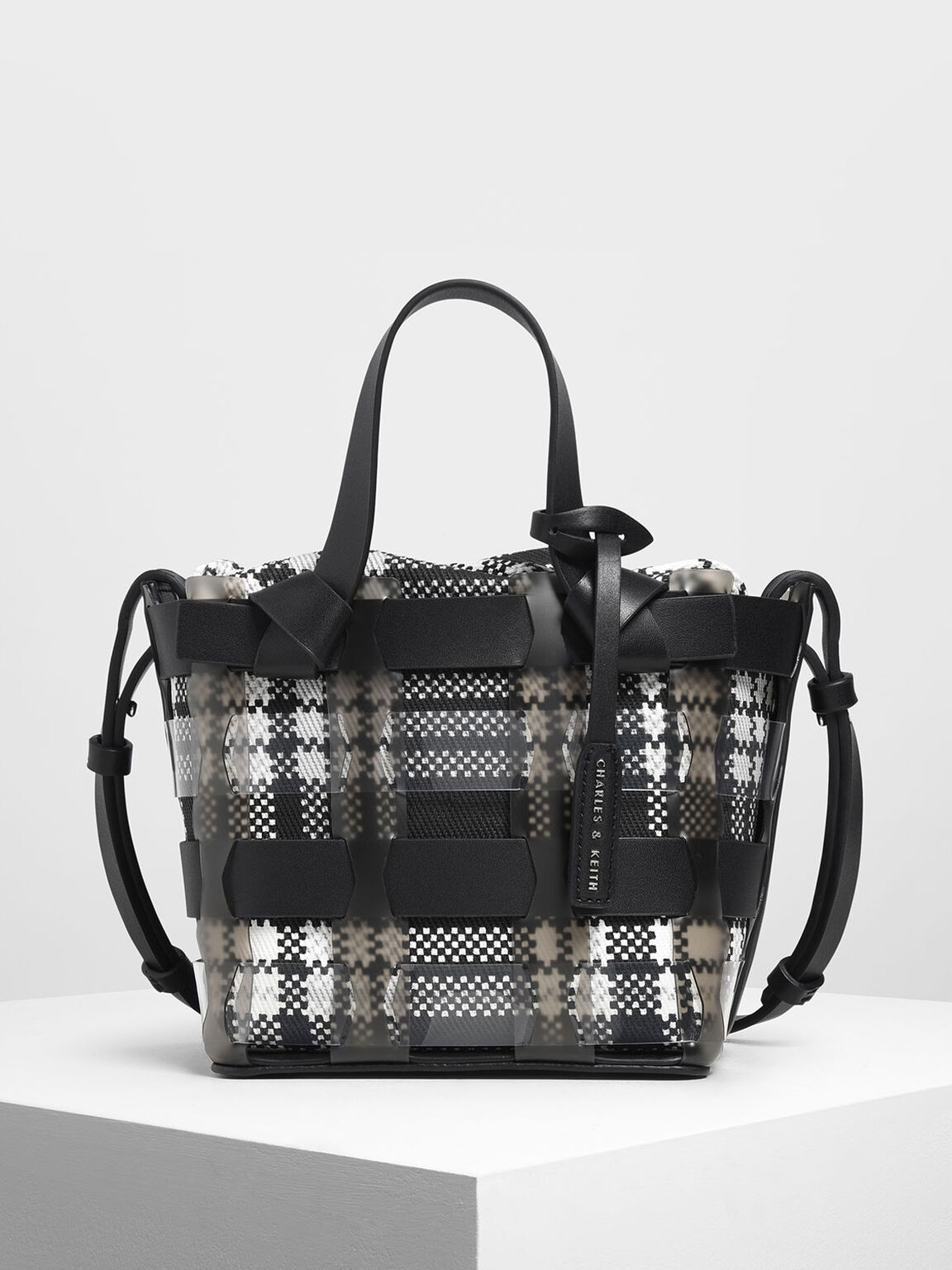 See-Through Woven Bucket Bag, Black, hi-res
