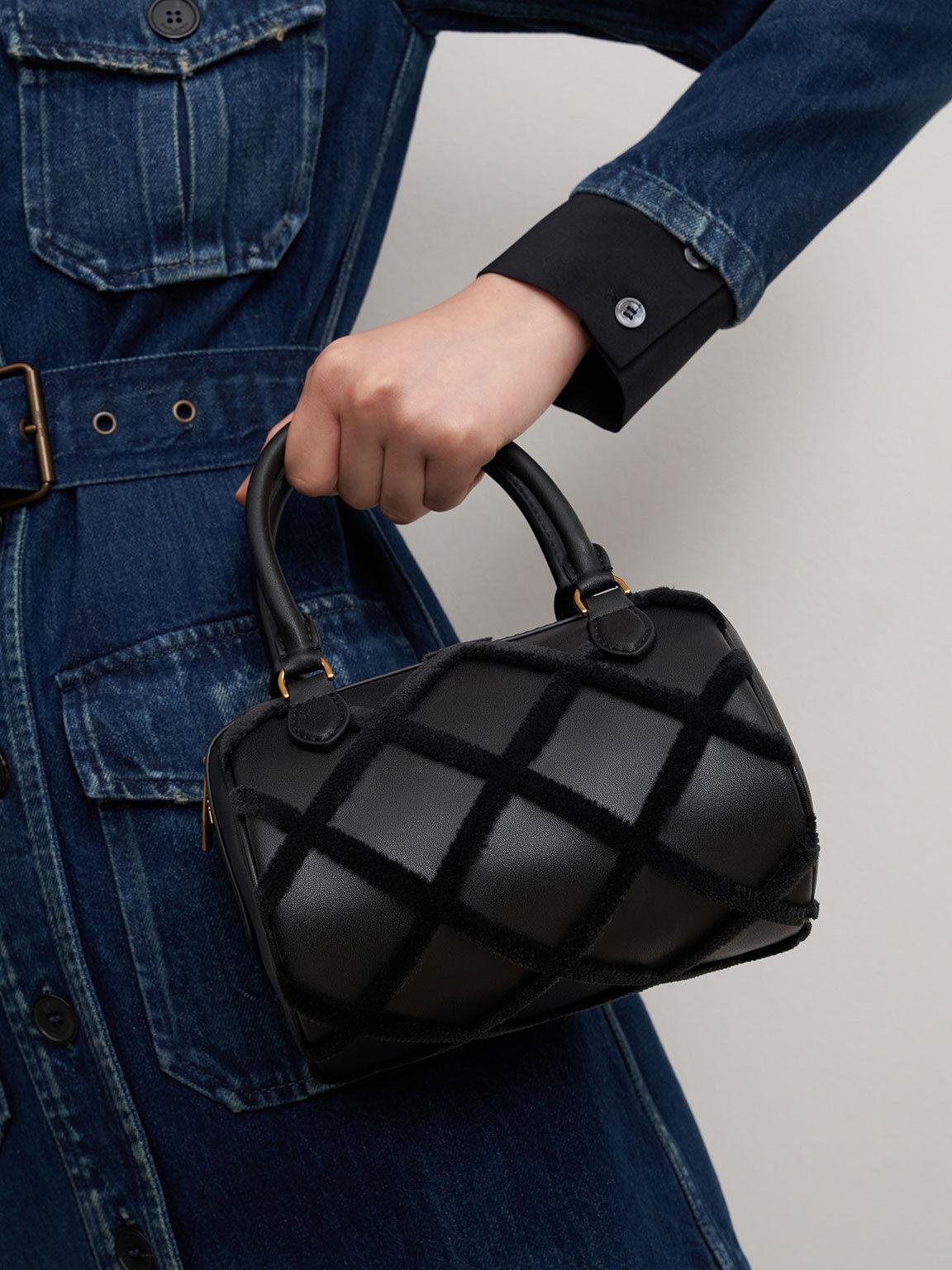 菱格拼接手提包, 黑色, hi-res