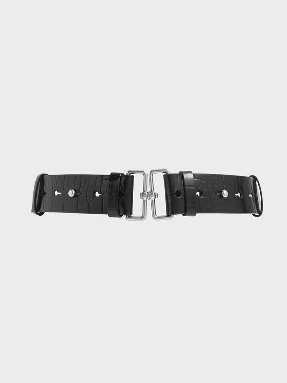 Croc-Effect Double Buckle Waist Belt, Black, hi-res