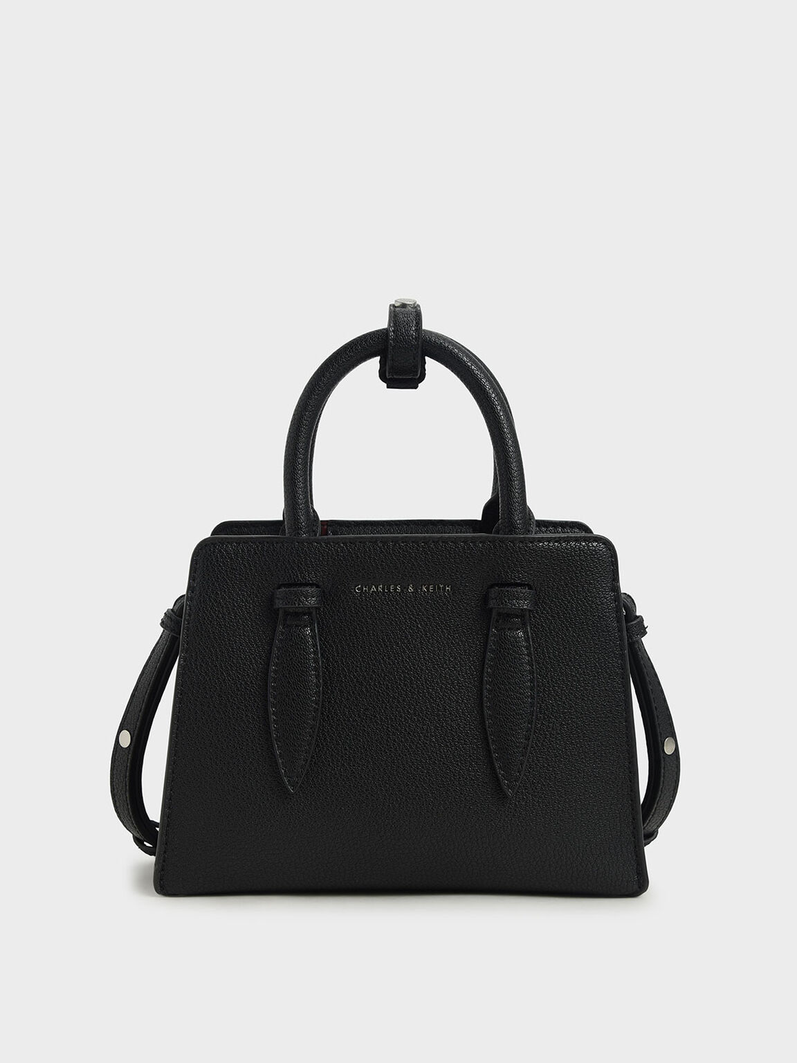 Double Top Handle Structured Bag, Black, hi-res