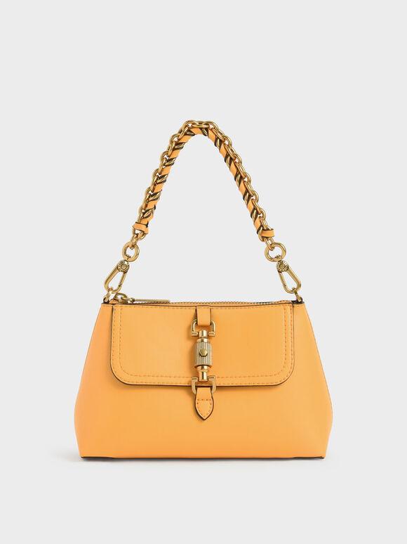 Chain Handle Bag, Mustard, hi-res