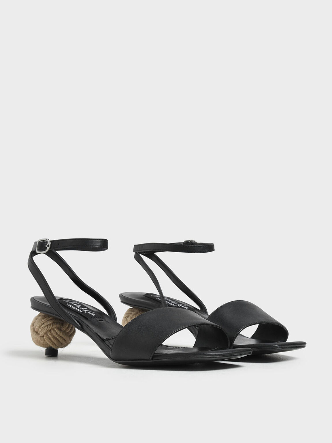 Spherical Heel Leather Sandals, Black, hi-res