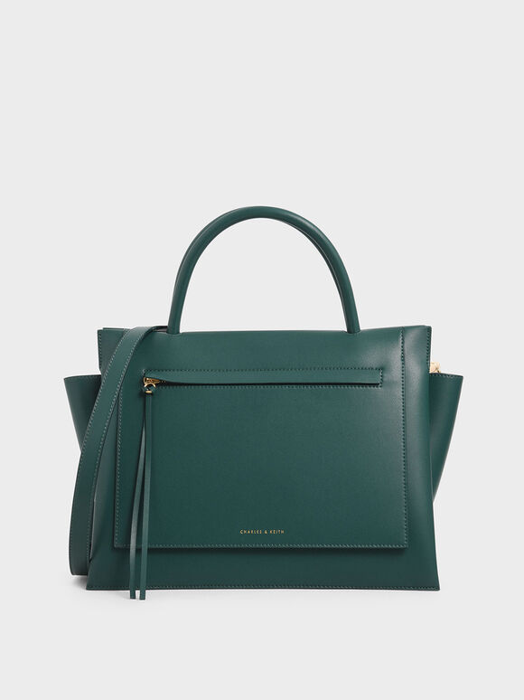 Large Trapeze Handbag, Dark Green, hi-res