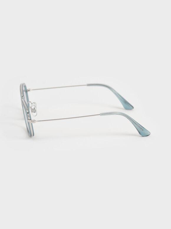 렉탱글 프레임 토트쉘 아세테이트 선글라스, 블루, hi-res