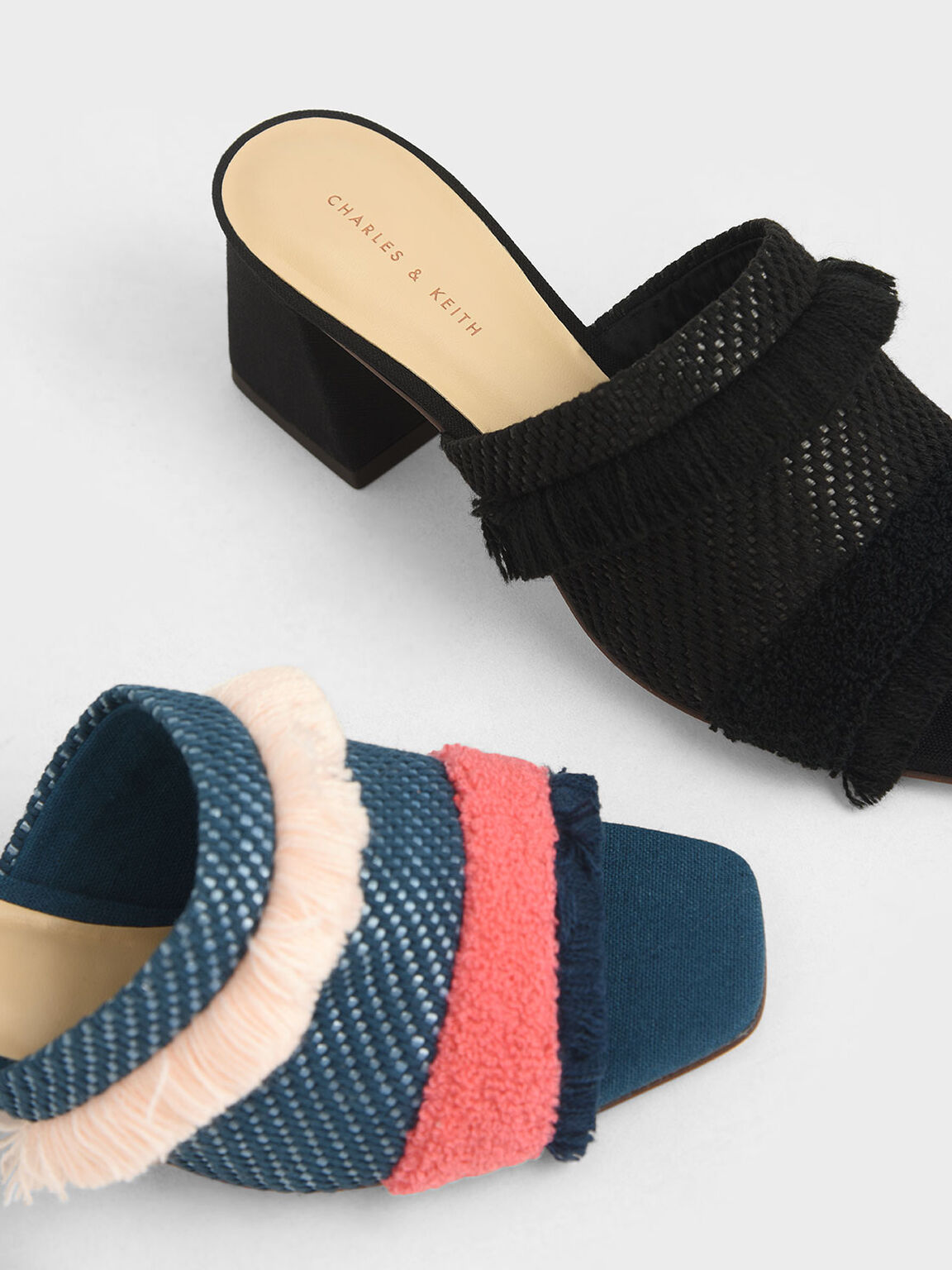 Woven Fabric Mules, Black, hi-res