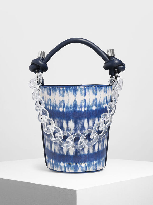 Chunky Chain Printed Bucket Bag, Multi, hi-res