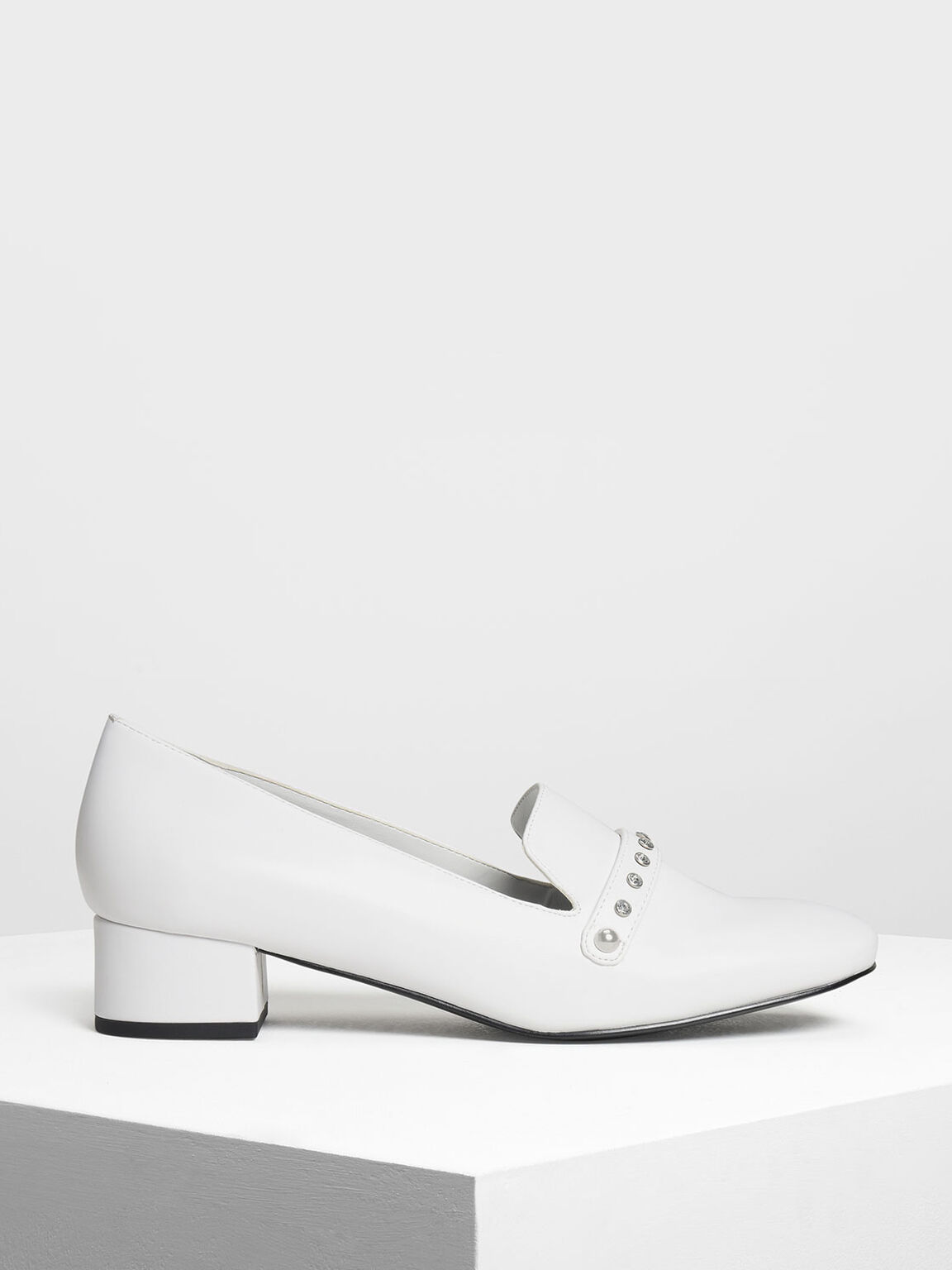 Embellished Loafers, White, hi-res