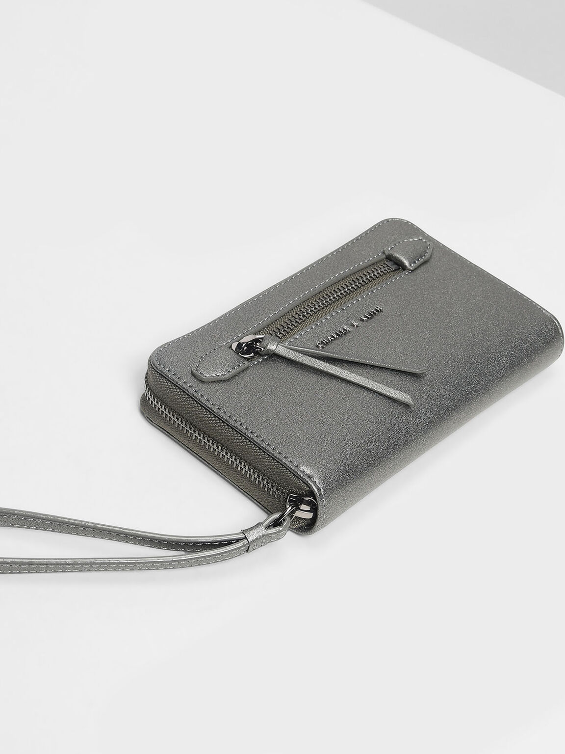 Zipped Wristlet, Pewter, hi-res