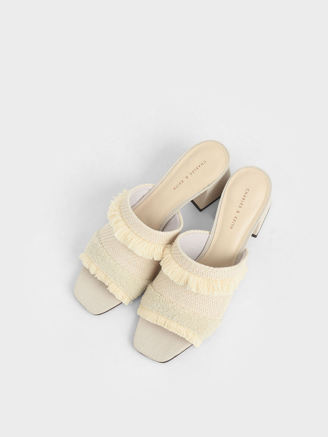 Woven Fabric Mules, Chalk, hi-res