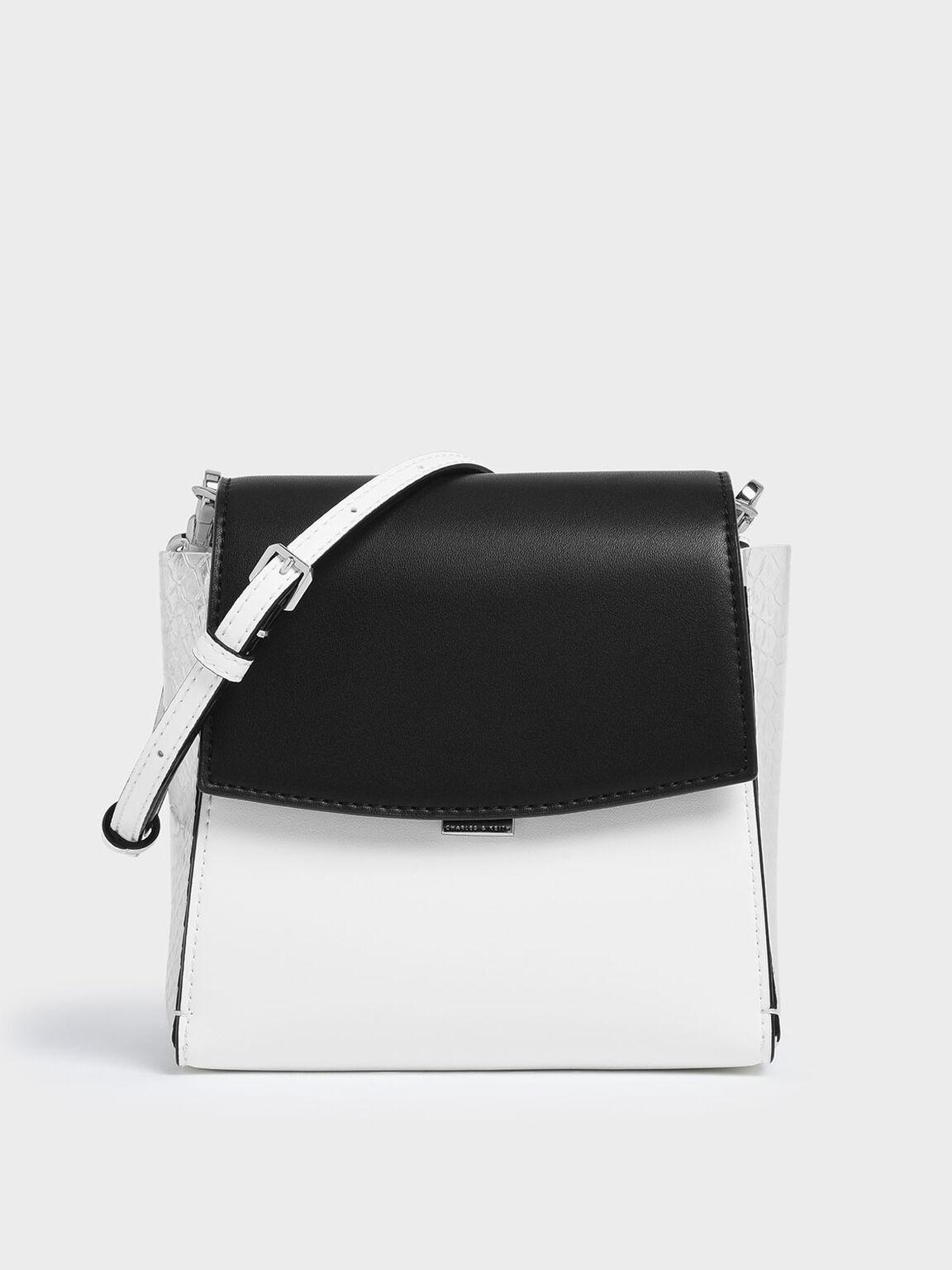 Two-Tone Textured Angular Crossbody Bag, Multi, hi-res