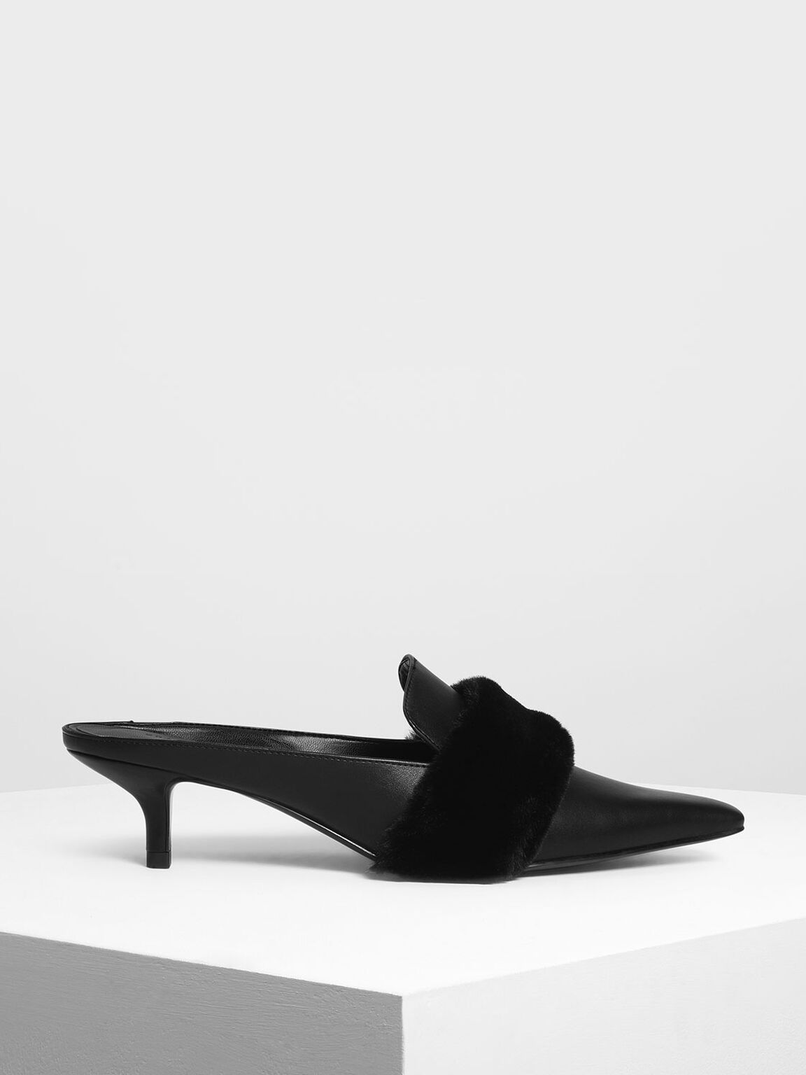 Furry Detail Kitten Heel Mules, Black, hi-res