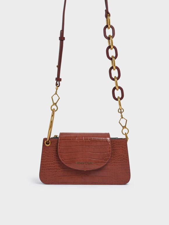 Croc-Effect Ring Handle Mini Front Flap Wallet, Burgundy, hi-res