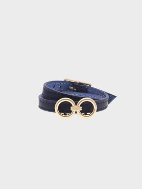 Double Wrap Around Belt Bracelet, Dark Blue