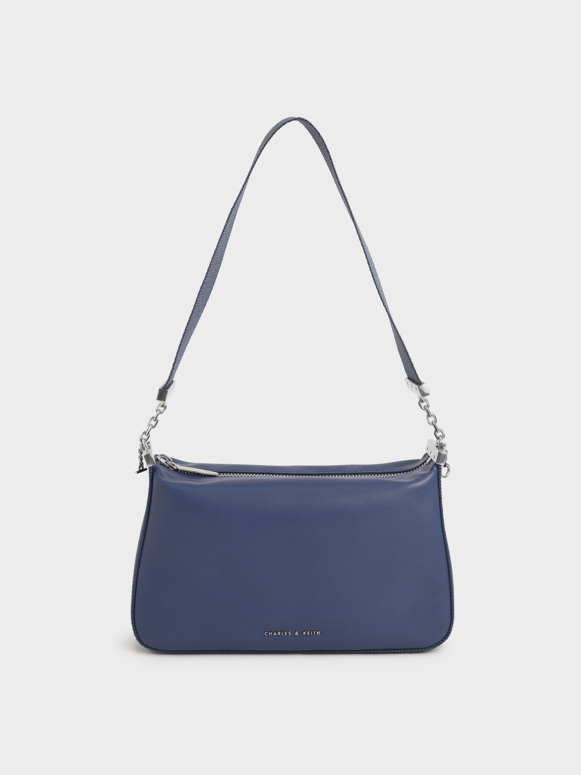 Zip Shoulder Bag, Blue, hi-res