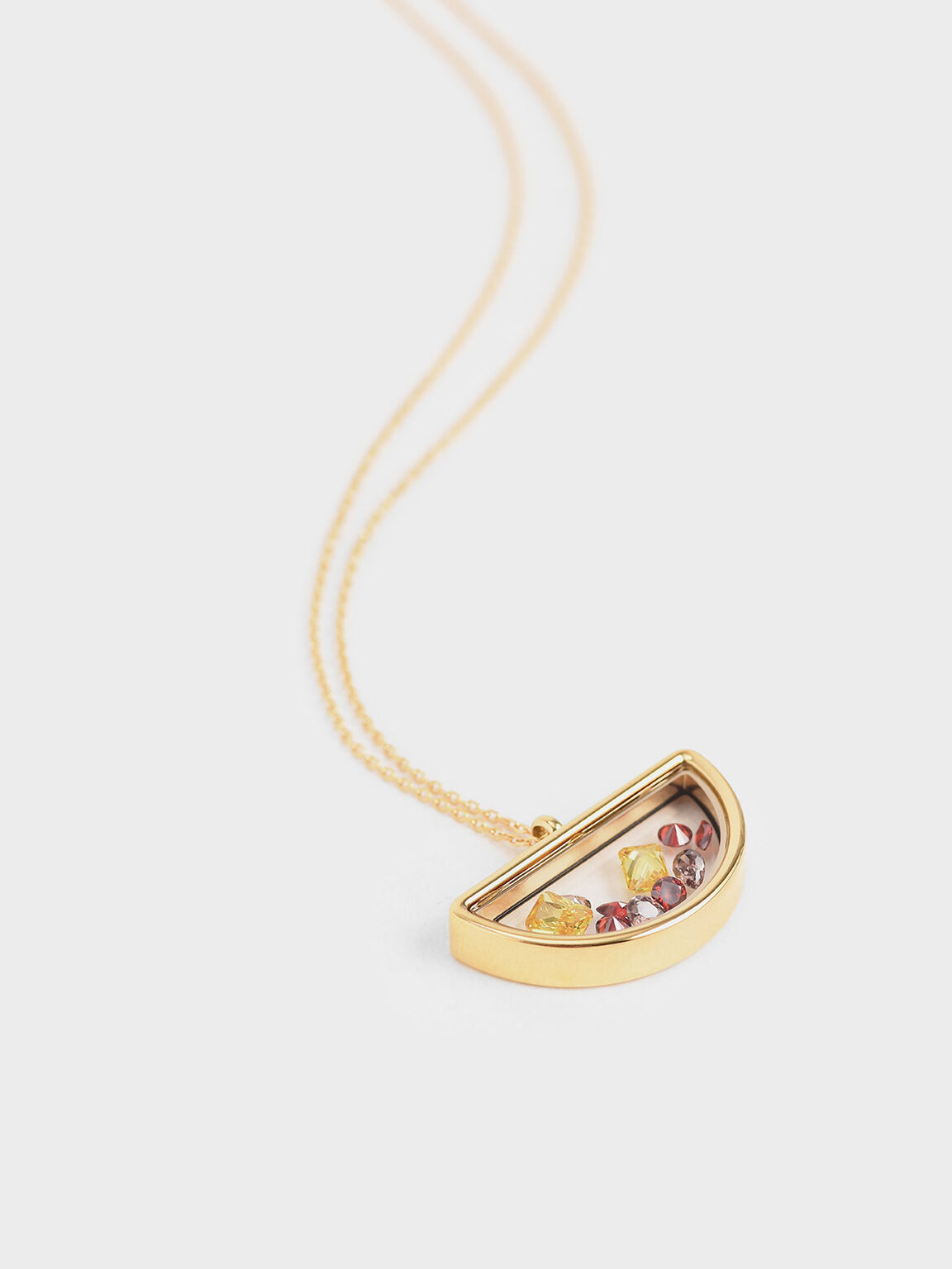 Semi-Circle Floating Locket Necklace, Gold, hi-res