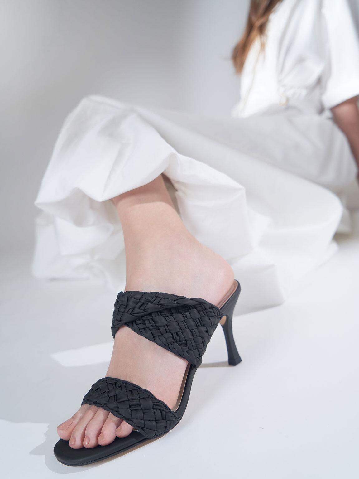編織帶高跟拖鞋, 黑色, hi-res