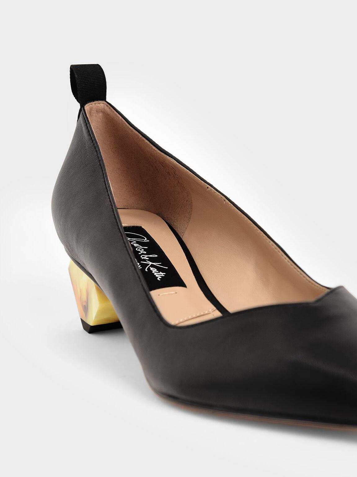 真皮幾何跟鞋, 黑色, hi-res