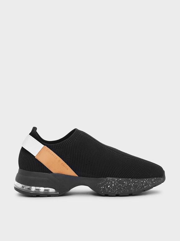 Knitted Sock Sneakers, Black, hi-res